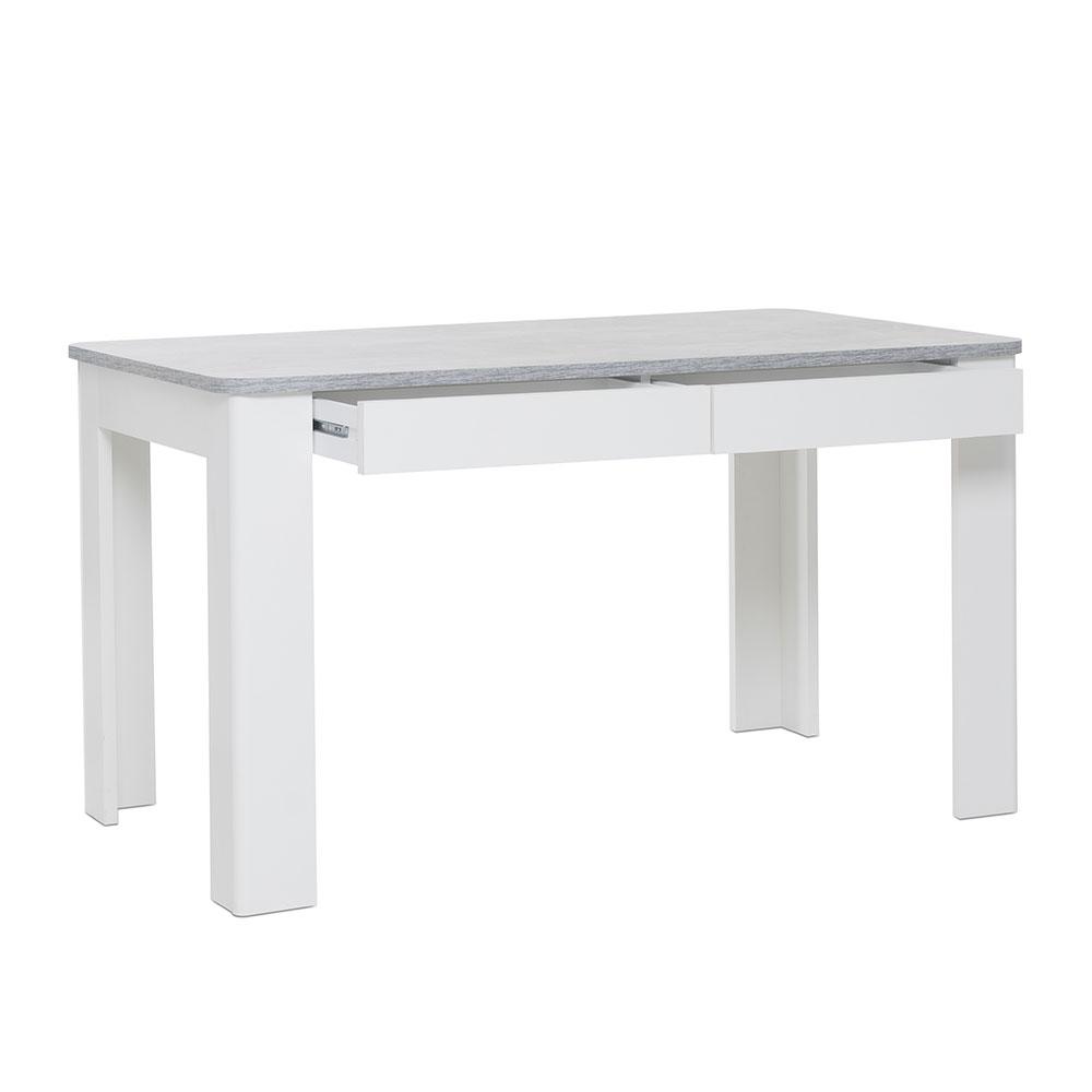Jedálenský stôl so zásuvkami Fínsko, 138 cm, betón/biela, betón / biela