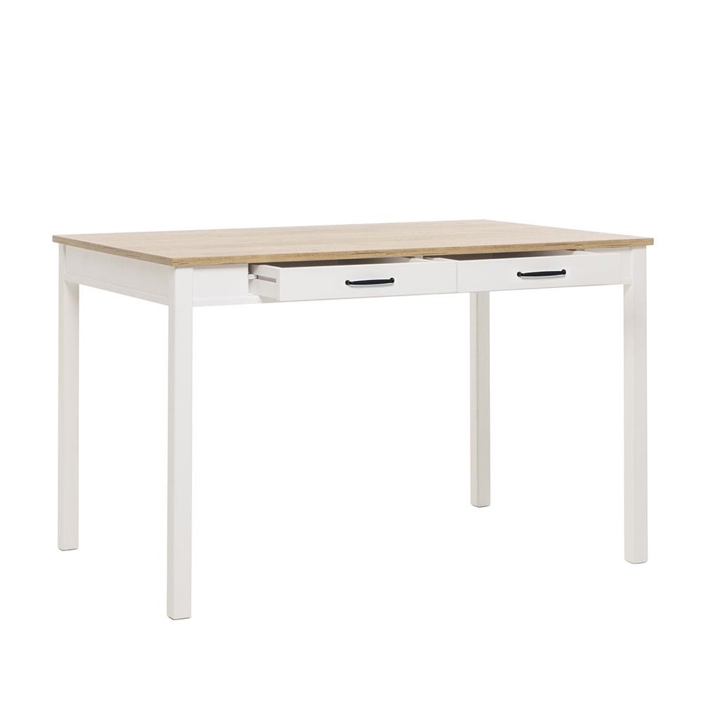 Jedálenský stôl so zásuvkami Landia, 120 cm, biela / dub