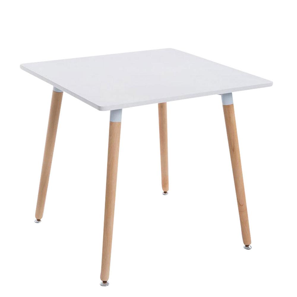 Jedálny stôl Benet, 80 cm, nohy prírodný, drevo / biela