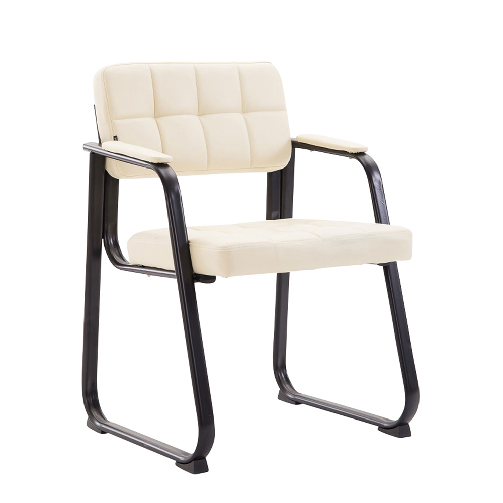 Konferenční židle s područkami Landet kůže krémová