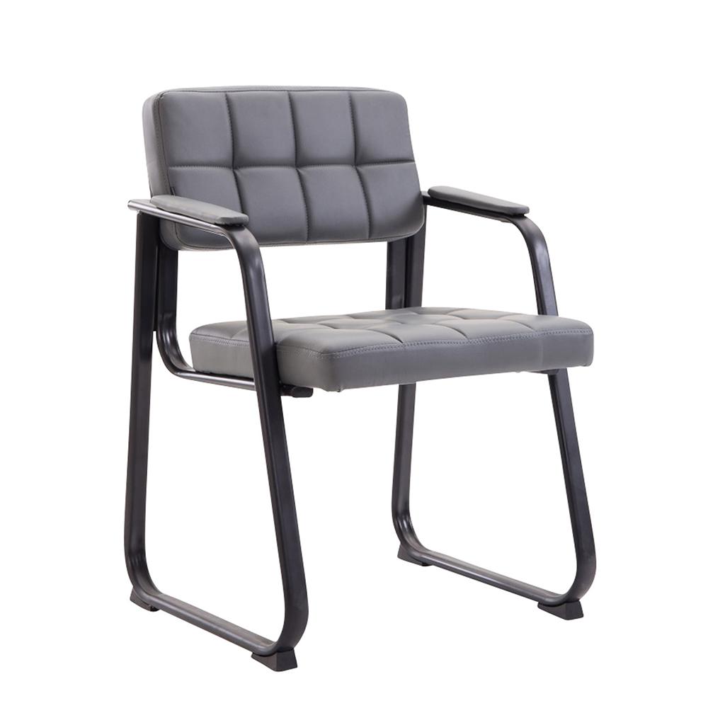 Konferenční židle s područkami Landet kůže šedá
