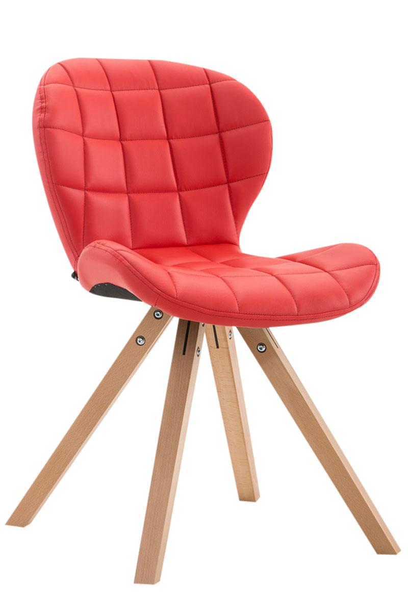 Jídelní čalouněná židle Tryk kůže, přírodní nohy červená