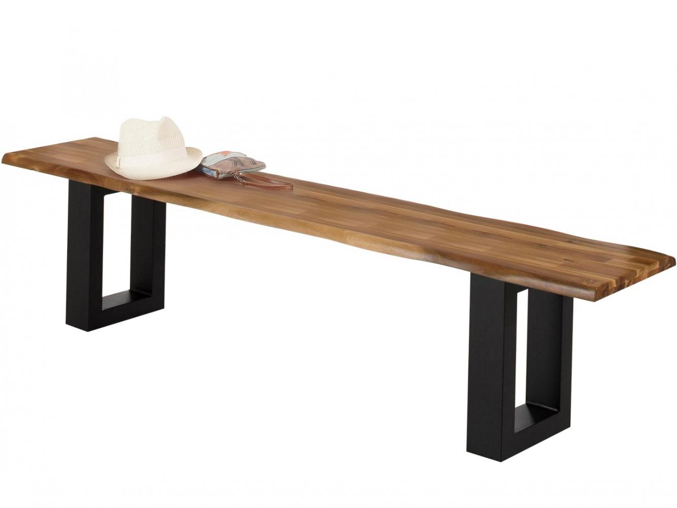 Jídelní lavice Melina, 180 cm, masivní akát / černá