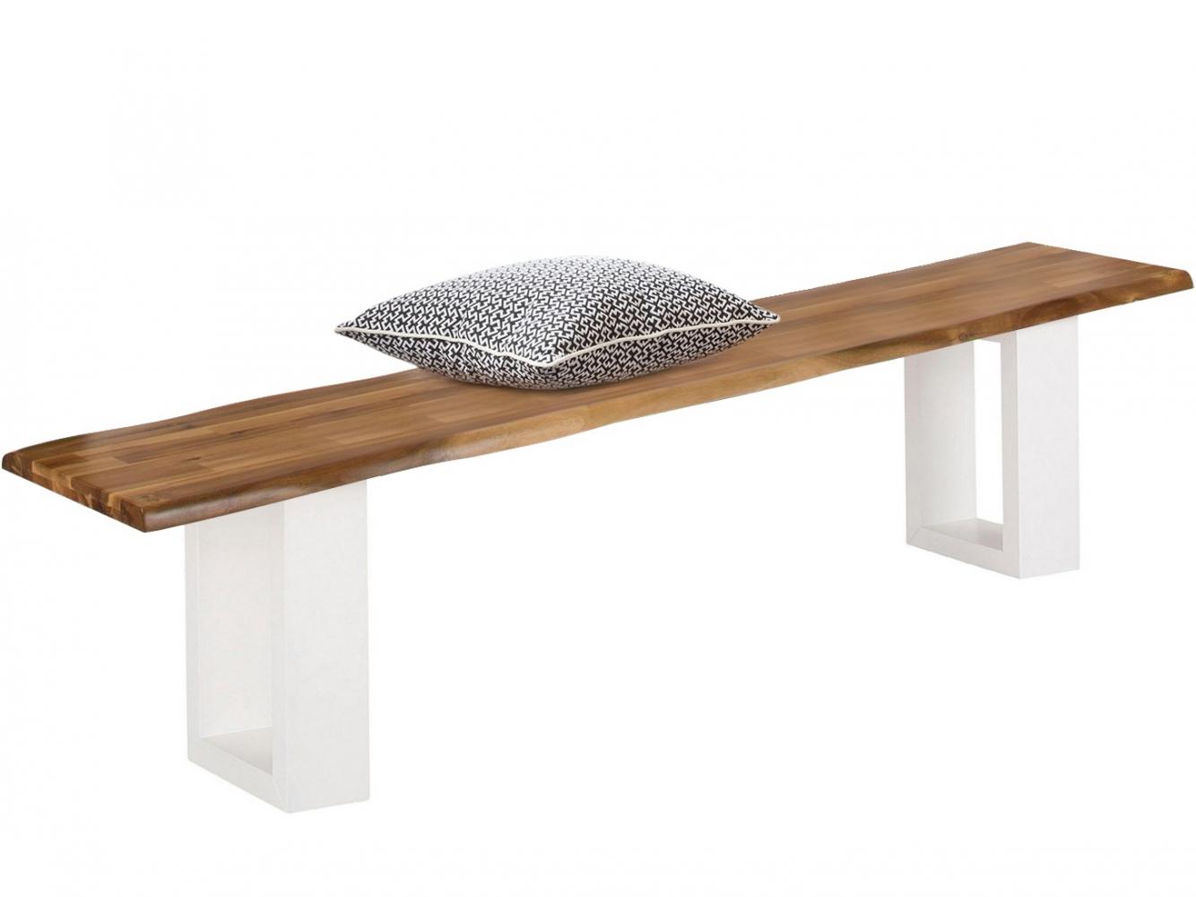 Jídelní lavice Melina, 200 cm, masivní akát / bílá