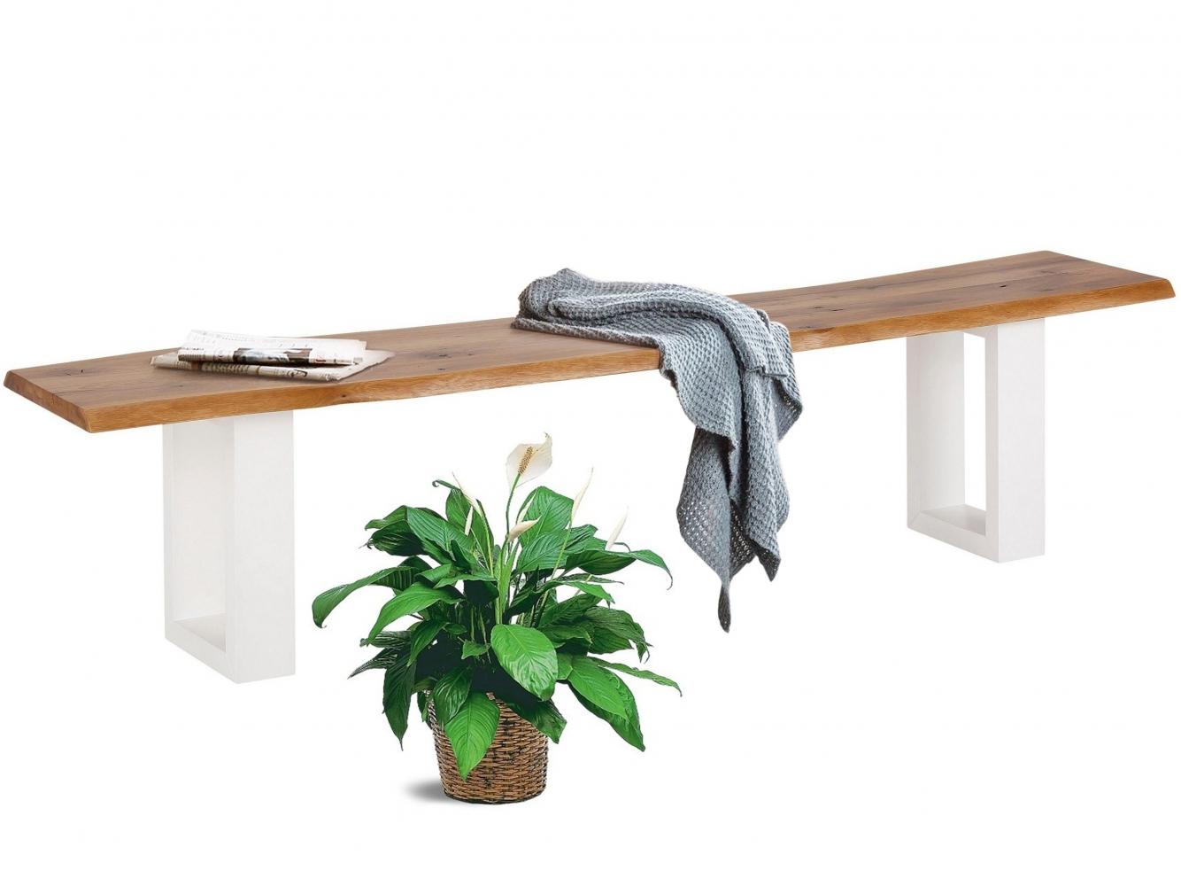 Jídelní lavice More, 180 cm, dub / bílá