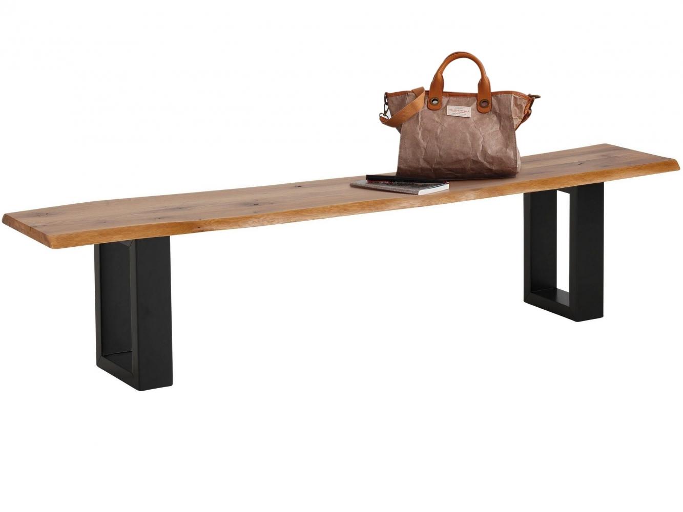 Jídelní lavice More, 200 cm, dub / černá
