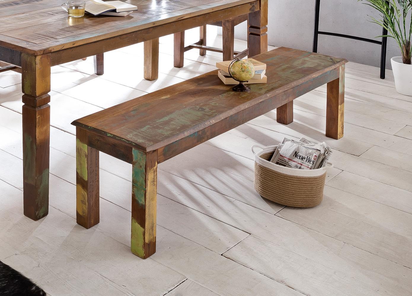 Jídelní lavice z recyklovaného dřeva Kalkutta, 120 cm, mango