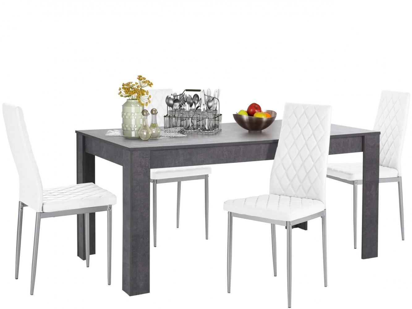 Jídelní set Bero 4+1, 160 cm, bílá / tmavě šedá