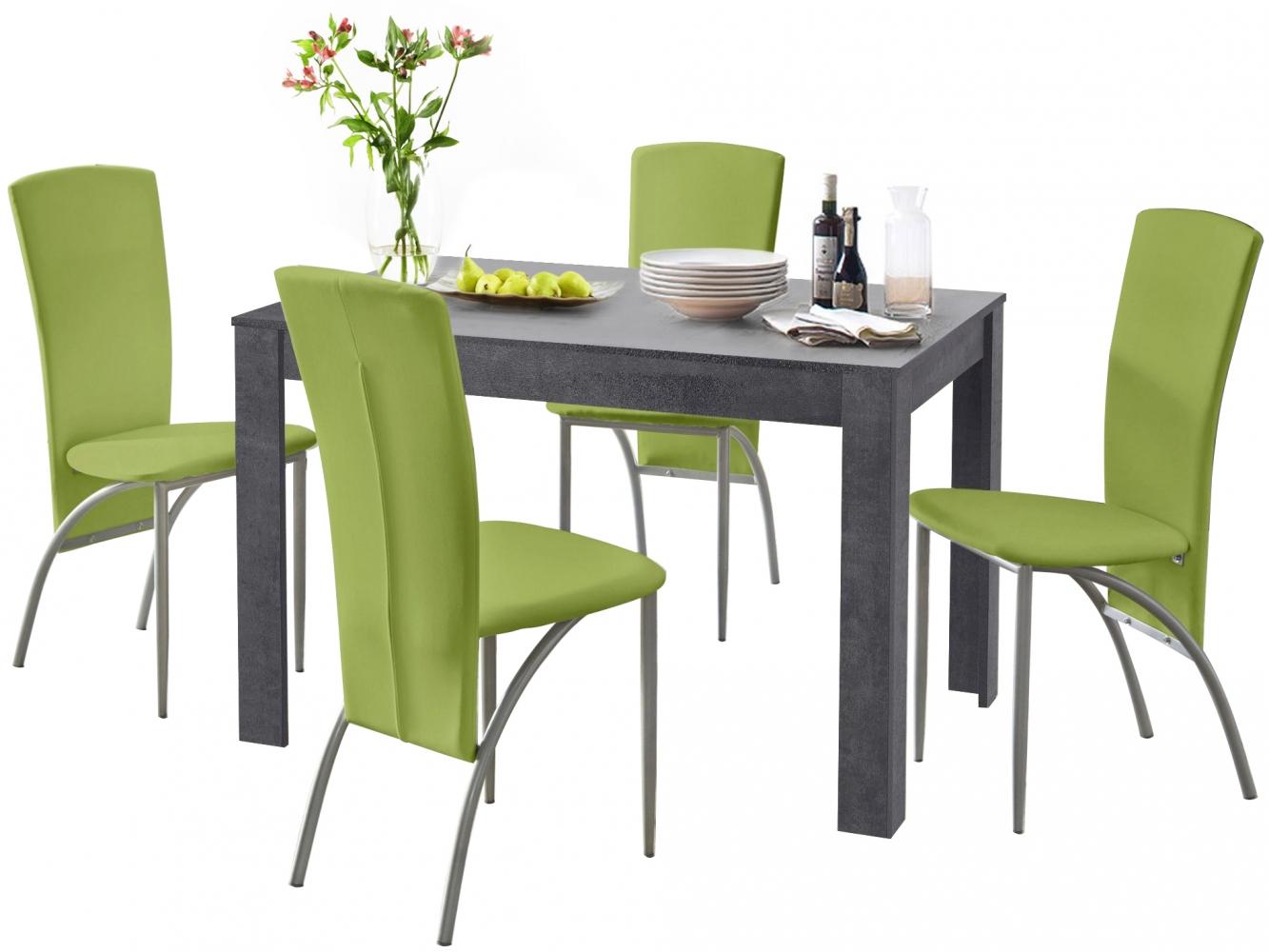 Jídelní set Dane 4+1, 120 cm, zelená / šedá