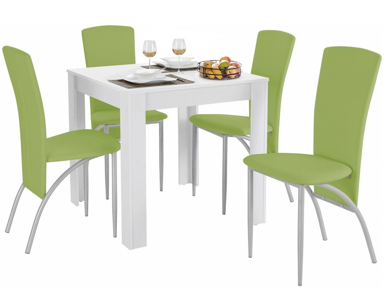 Jídelní set Dane 4+1, 80 cm, zelená / bílá