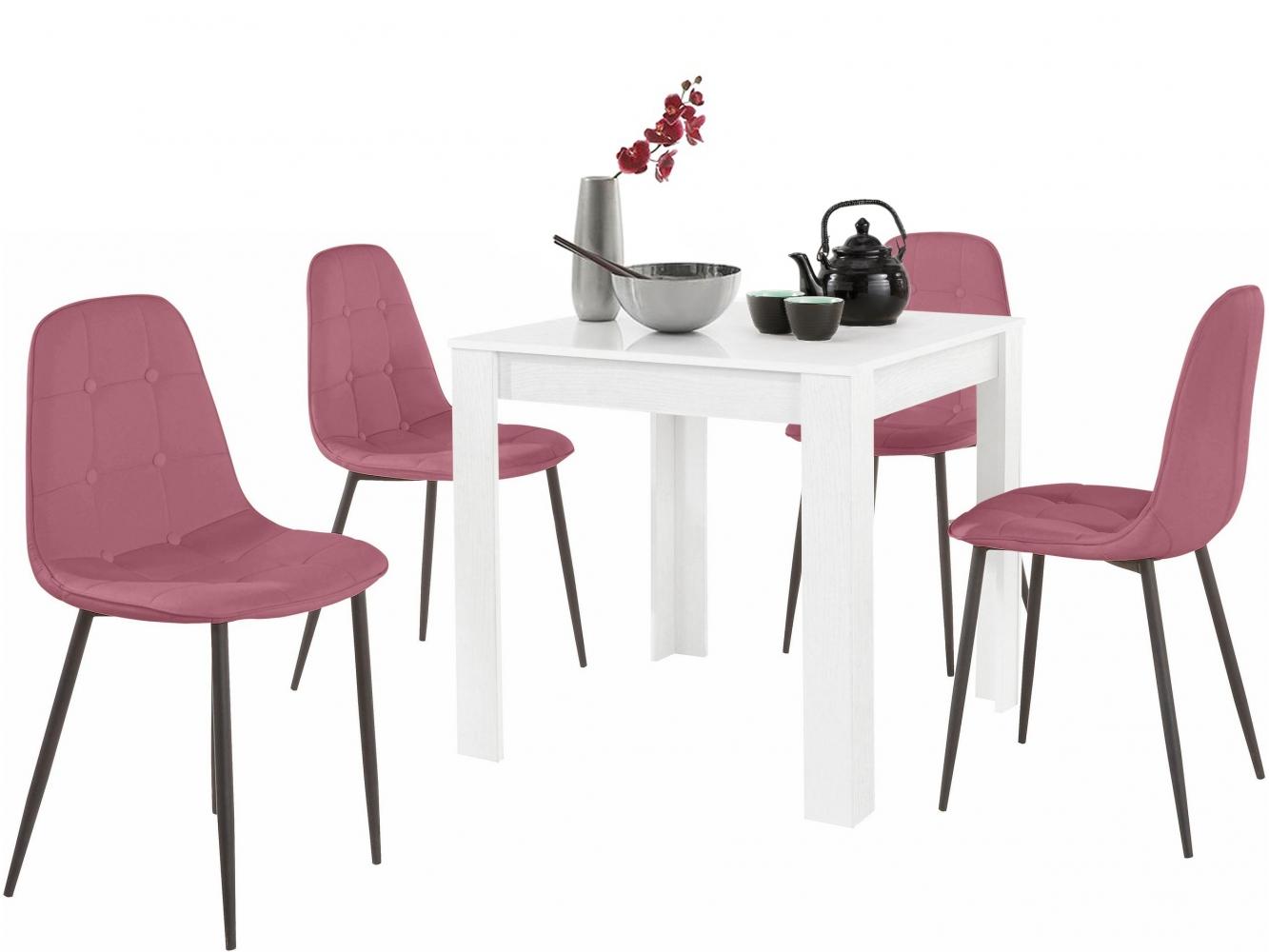 Jídelní set Lorm 4+1, 80 cm, růžová / bílá