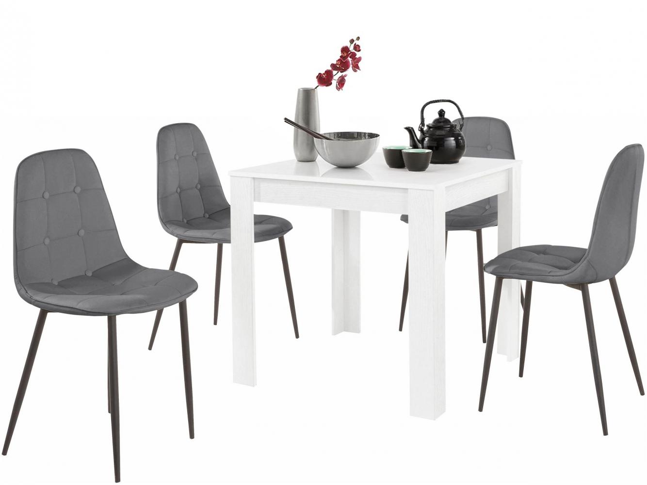 Jídelní set Lorm 4+1, 80 cm, šedá / bílá