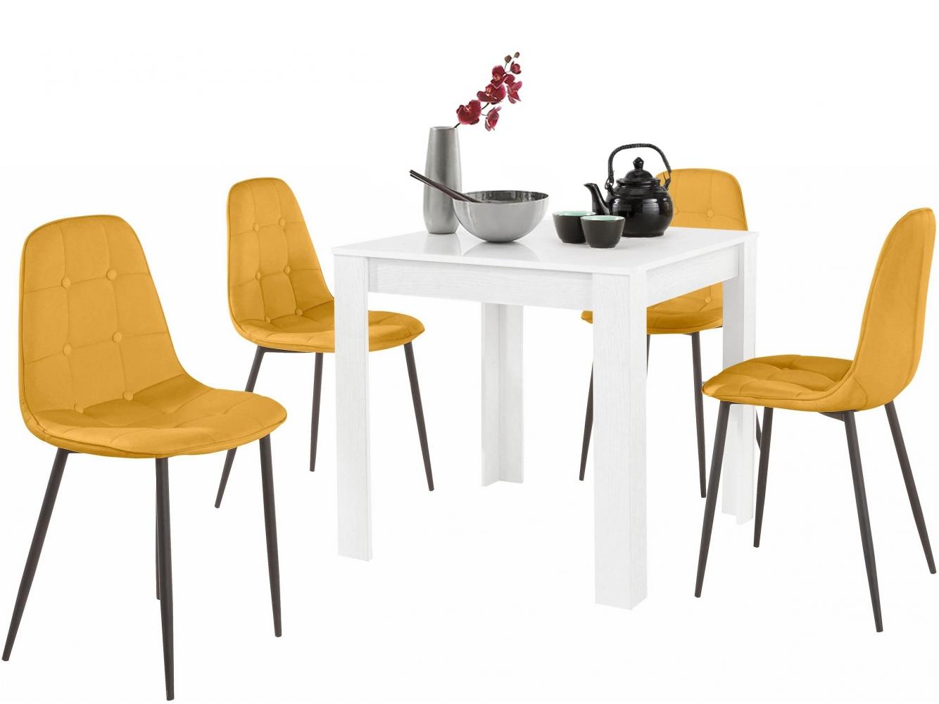 Jídelní set Lorm 4+1, 80 cm, žlutá / bílá