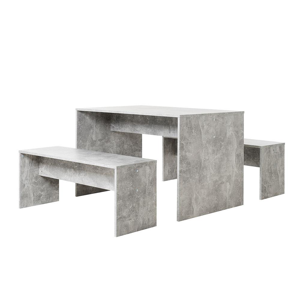 Jídelní stůl + 2 lavice Rome (sada 3 ks), beton