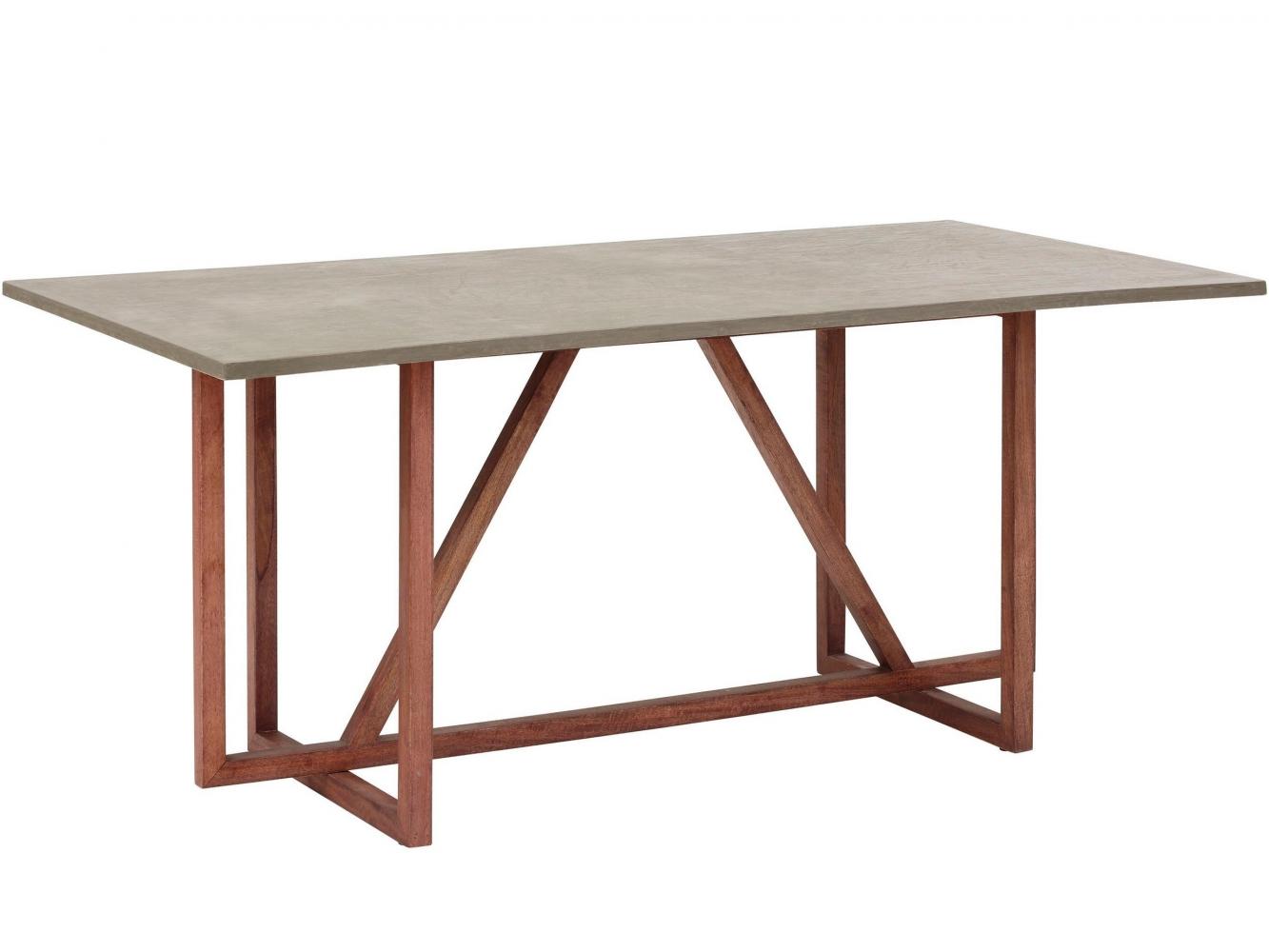 Jídelní stůl Buc, 180 cm, masivní mango / šedá