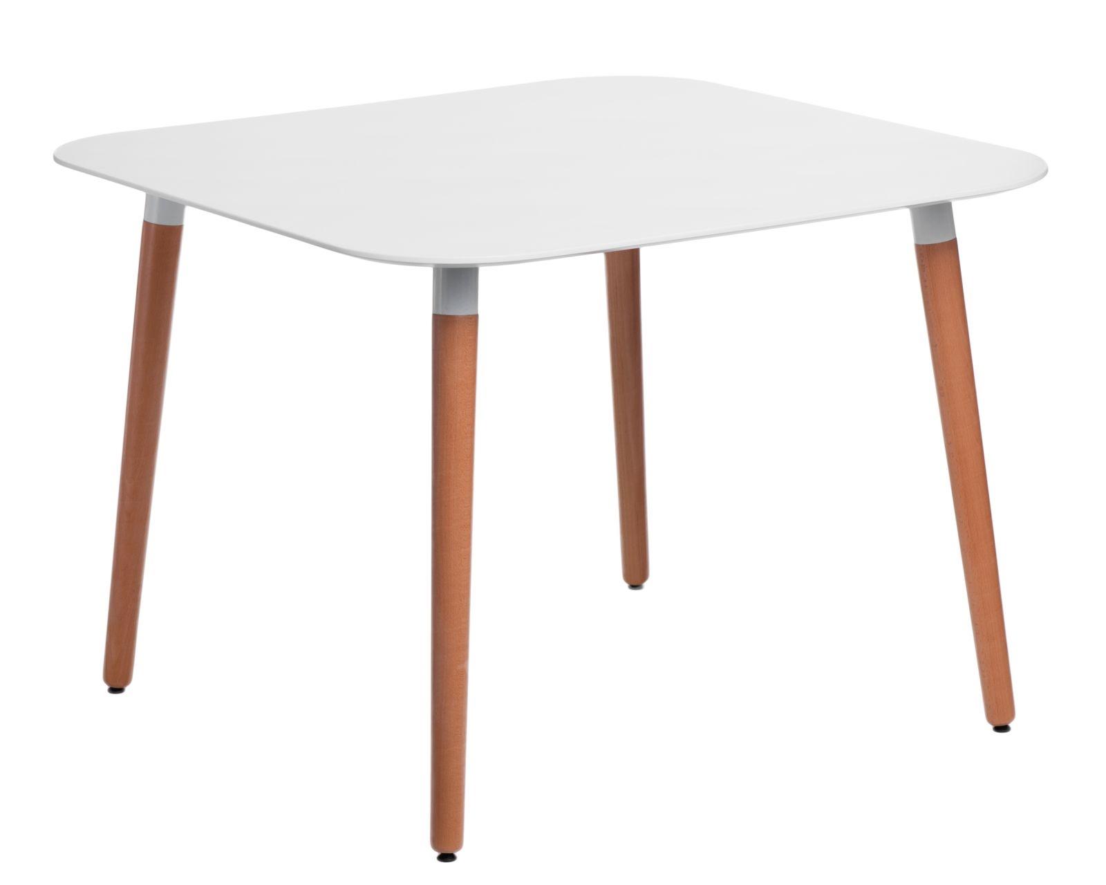 Jídelní stůl Clara čtvercový oblý, 100 cm, bílá