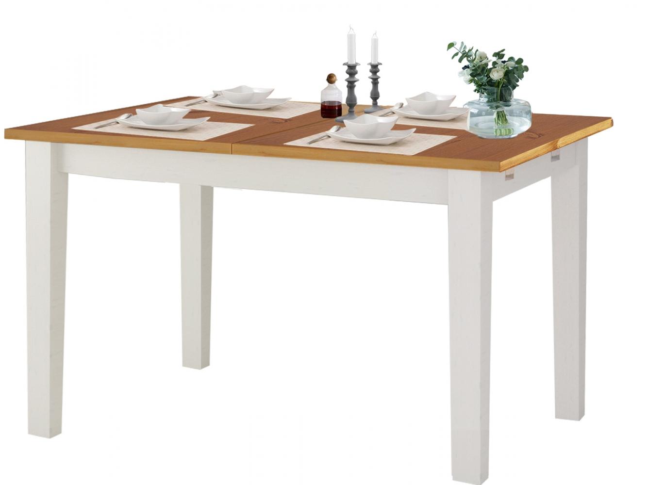 Jídelní stůl Disa, 120 cm, bílá / borovice