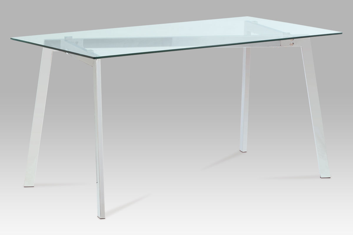 Jídelní stůl Elsa, 150 cm, čiré sklo/chrom