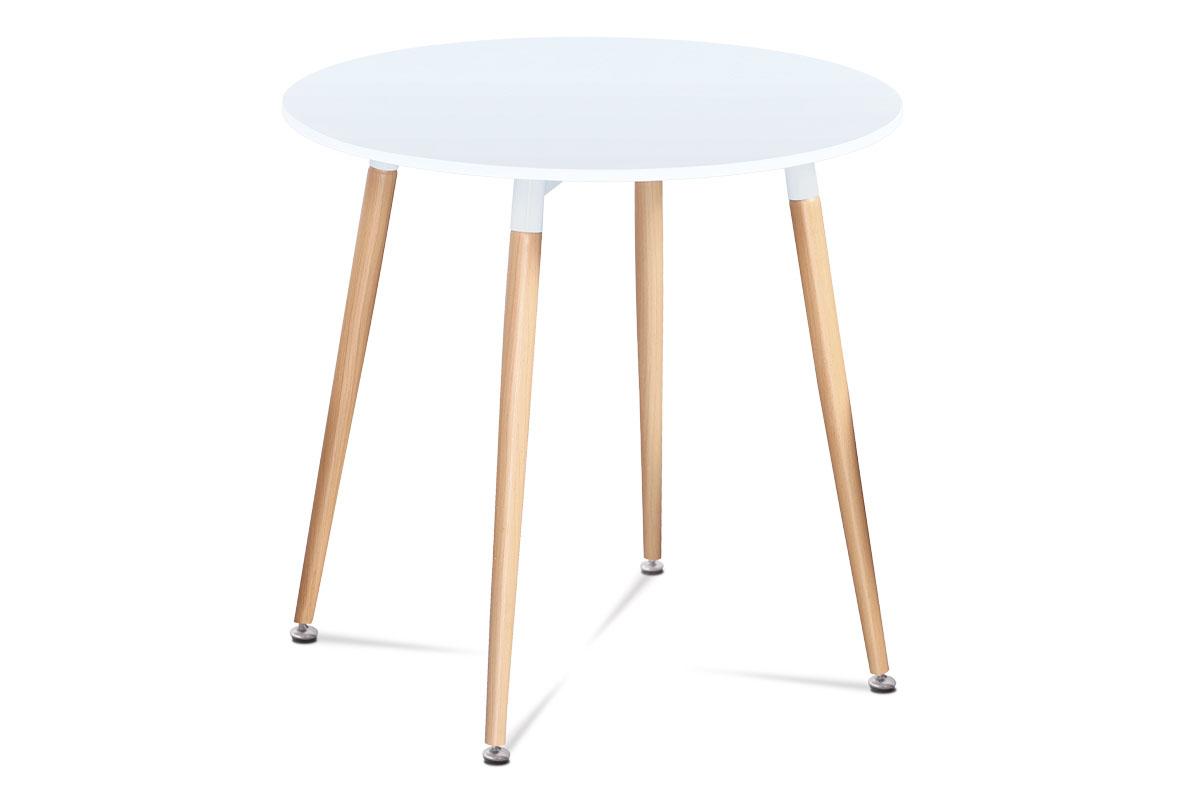 Jídelní stůl kulatý Ilja, 80 cm, bílá/buk