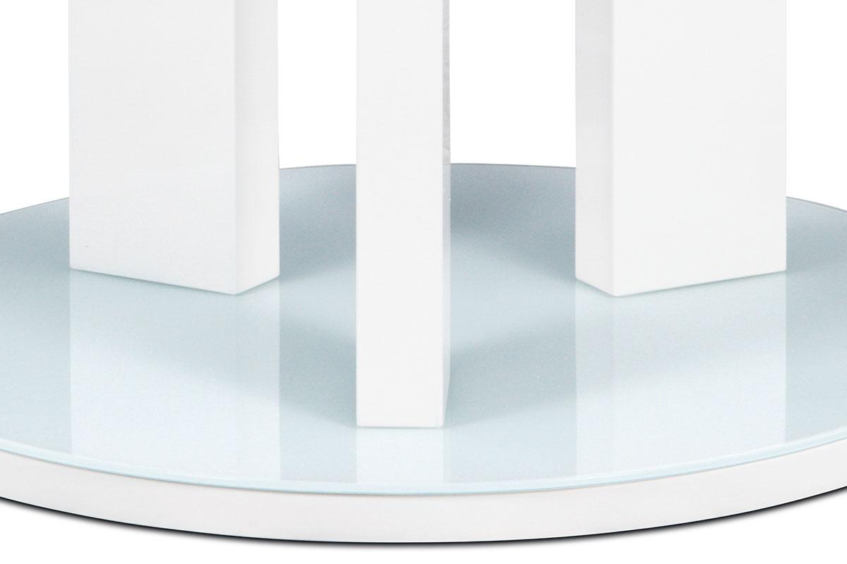 Jídelní stůl kulatý Judita, 108 cm, mléčné sklo/bílá