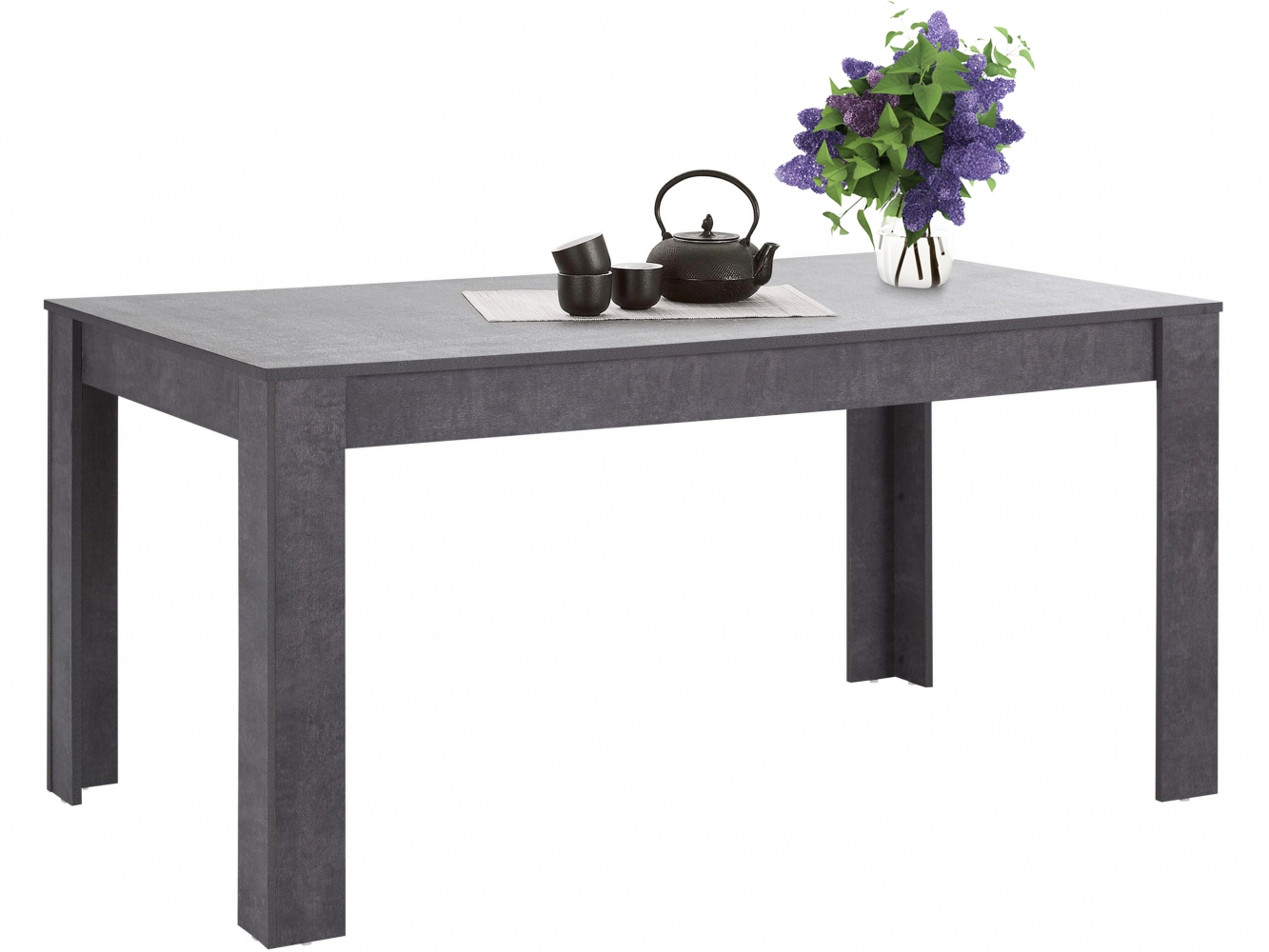 Jídelní stůl Lora I., 160 cm, pohledový beton