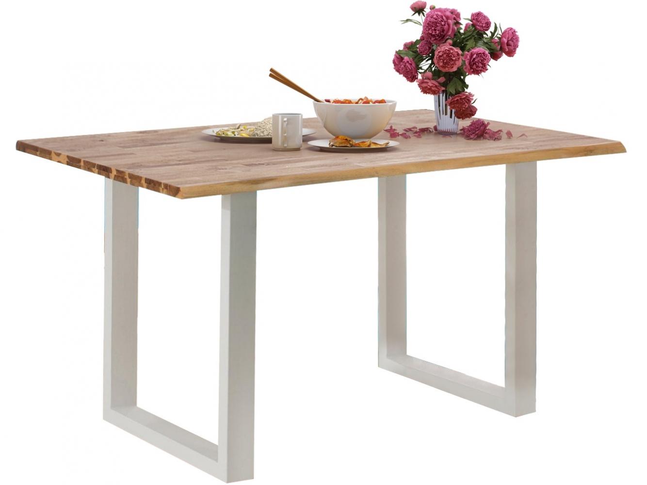 Jídelní stůl Melina, 140 cm, masivní akát / bílá