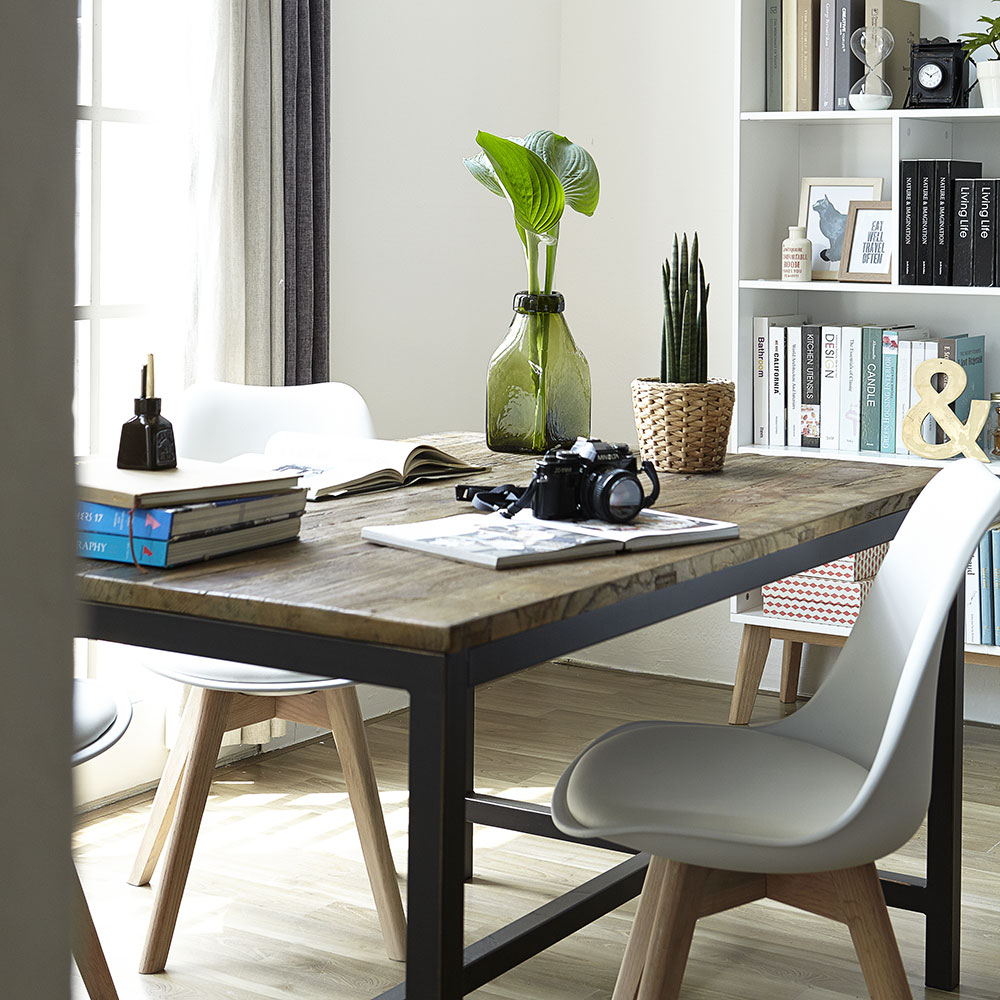 Jídelní stůl s dřevěnou deskou Harvest, 140 cm