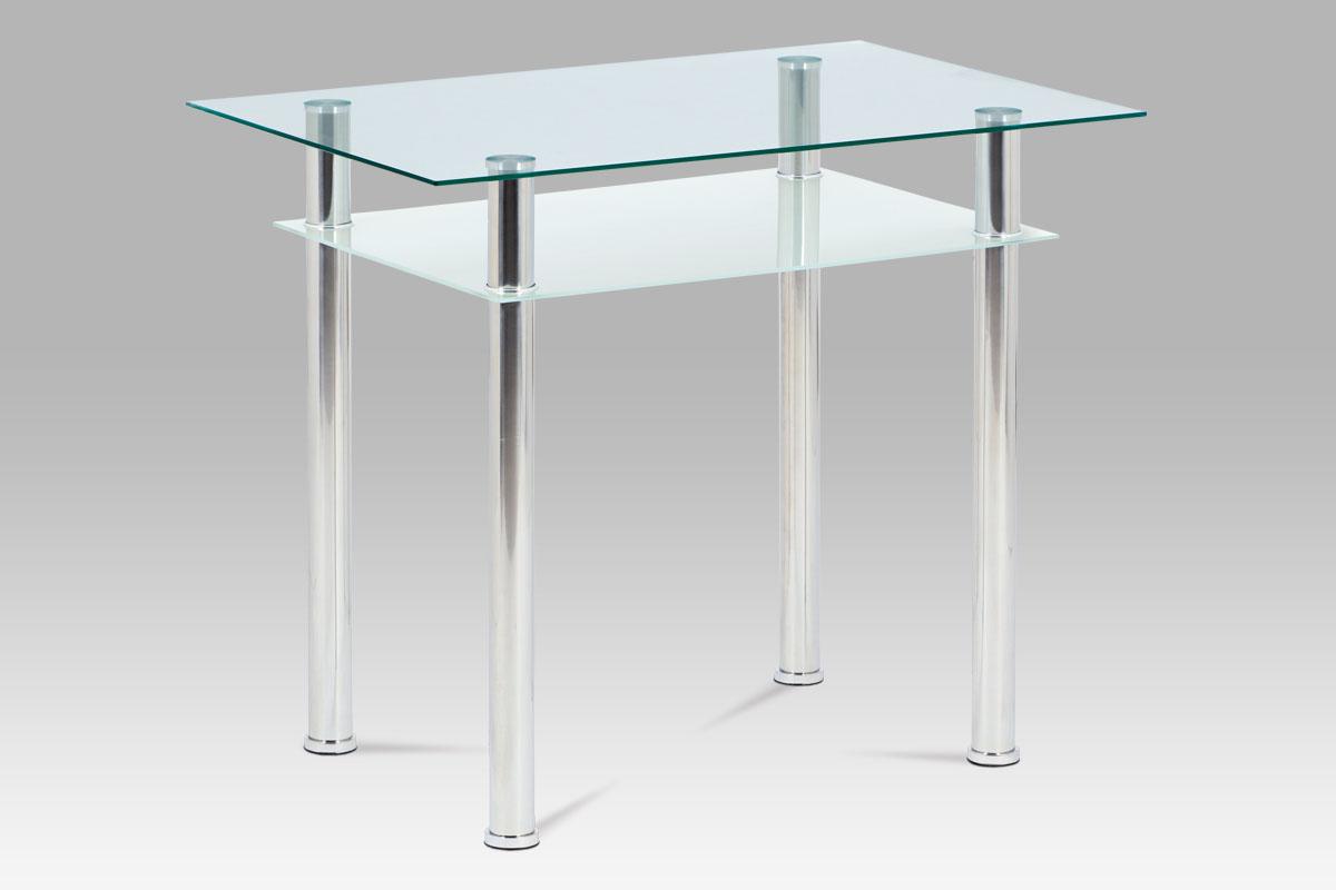 Jídelní stůl s policí Radka, 90 cm, sklo/chrom