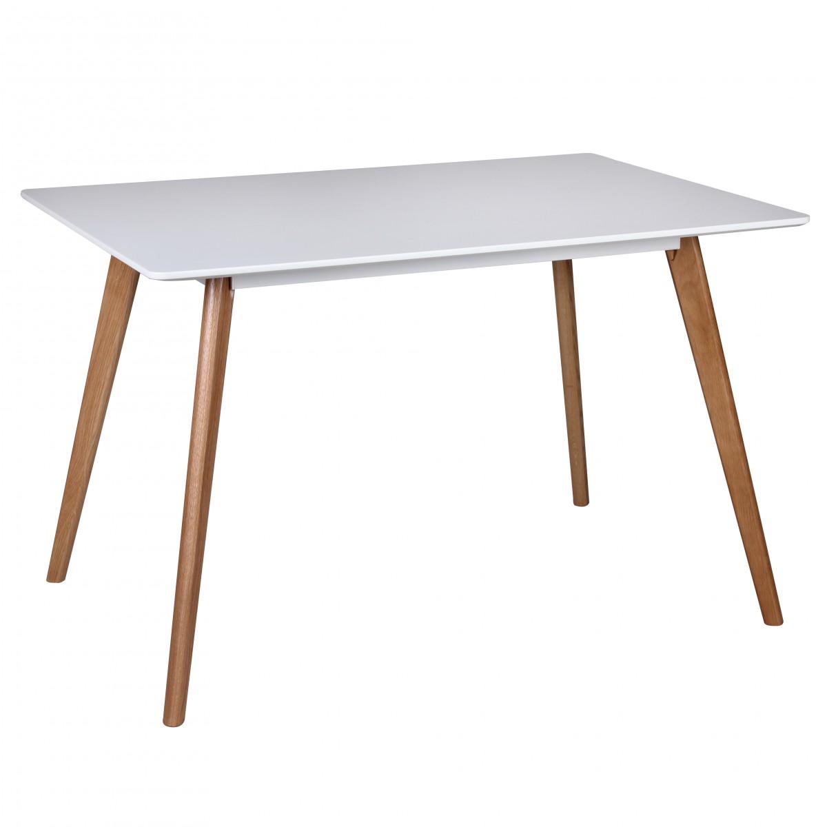 Jídelní stůl Scanio, 120 cm, bílá/dub