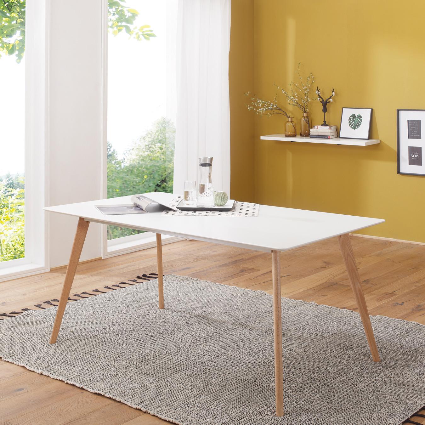 Jídelní stůl Scanio, 180 cm, bílá/dub
