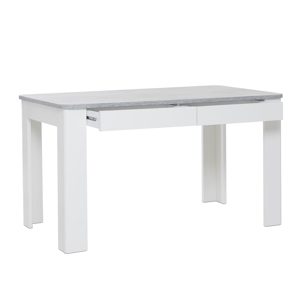 Jídelní stůl se zásuvkami Finland, 138 cm, beton/bílá