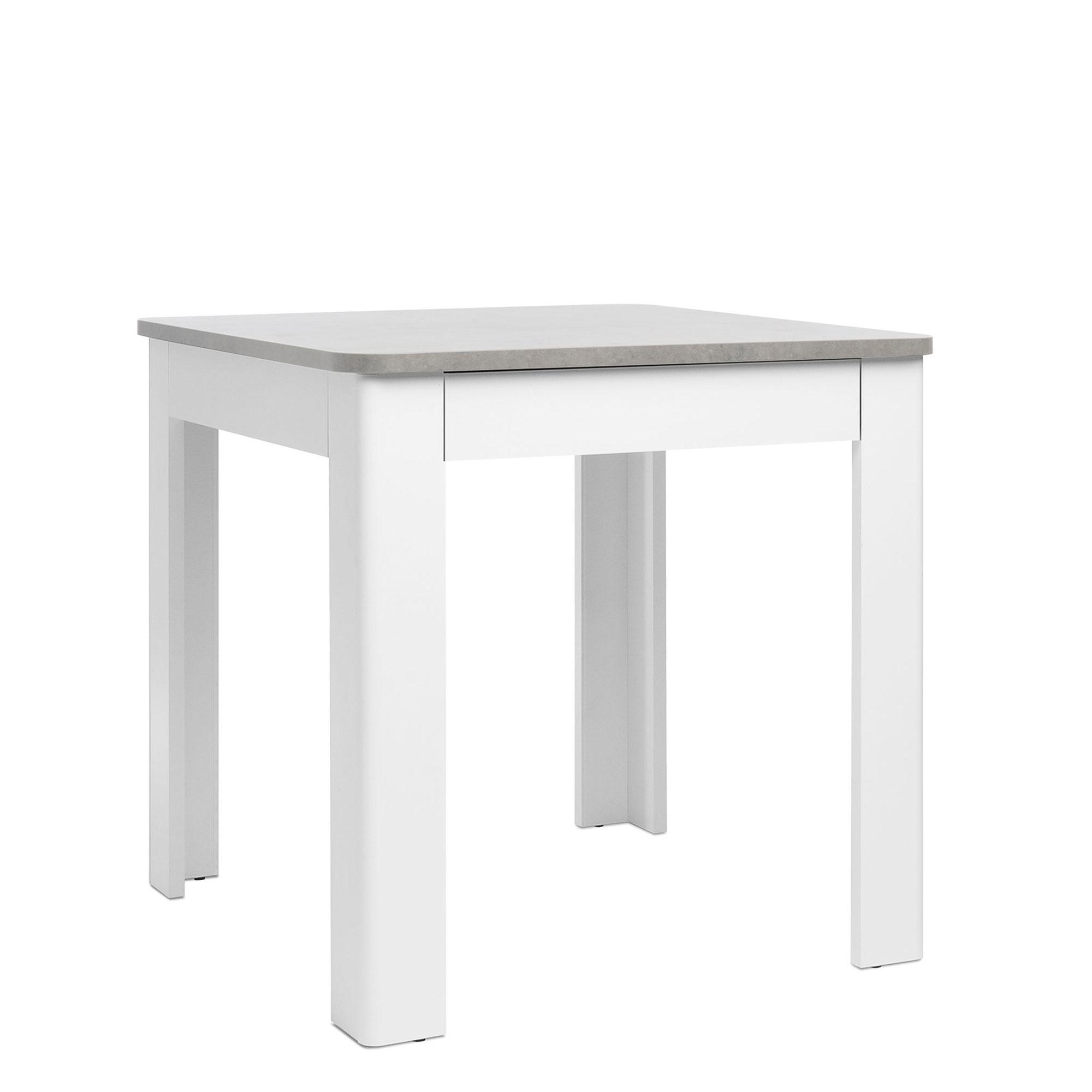 Jídelní stůl se zásuvkou Solo, 80 cm, beton/bílá