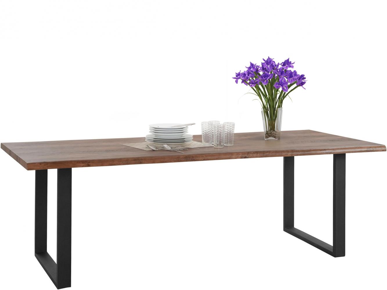 Jídelní stůl Sinc, 220 cm, hnědá / černá