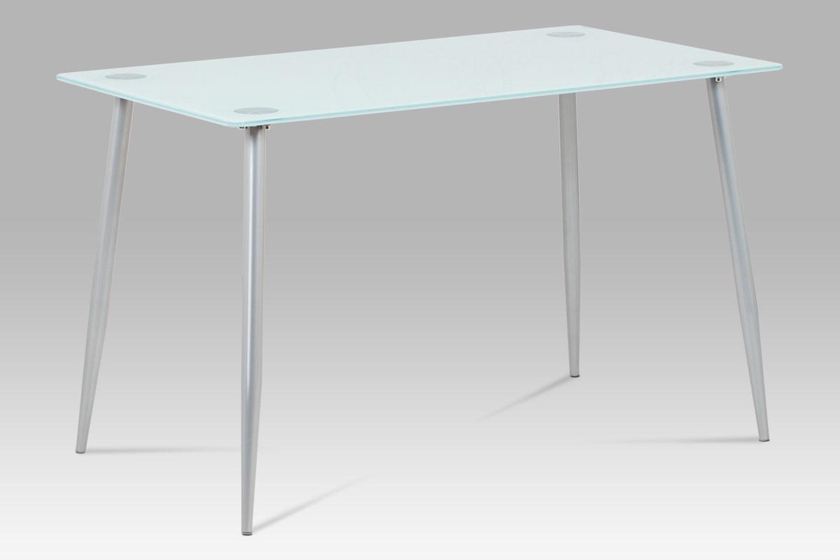Jídelní stůl skleněný Zlata, 120 cm, mléčné sklo/šedá