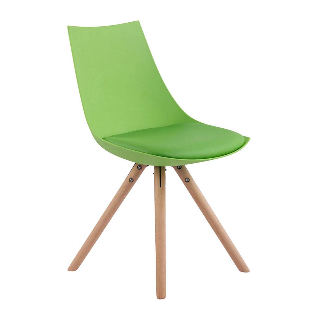 Jídelní židle Alba kůže, přírodní nohy zelená