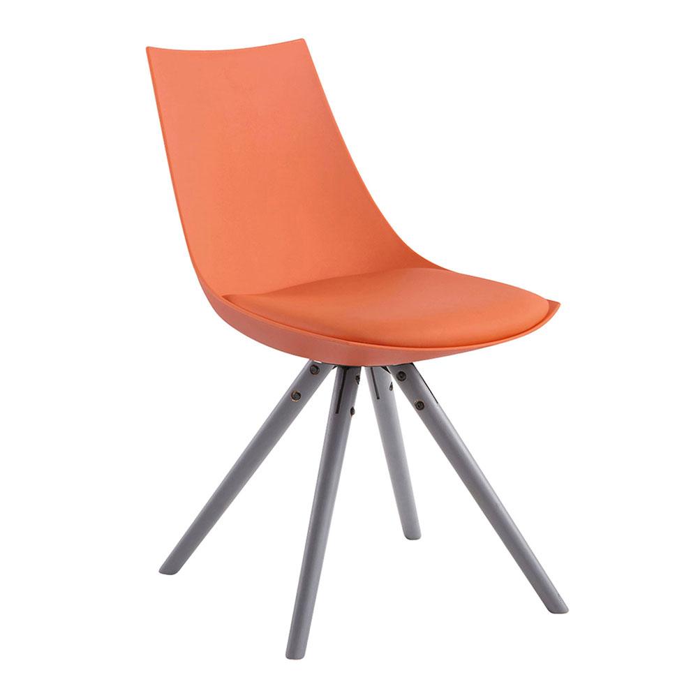 Jídelní židle Alba kůže, šedé nohy oranžová