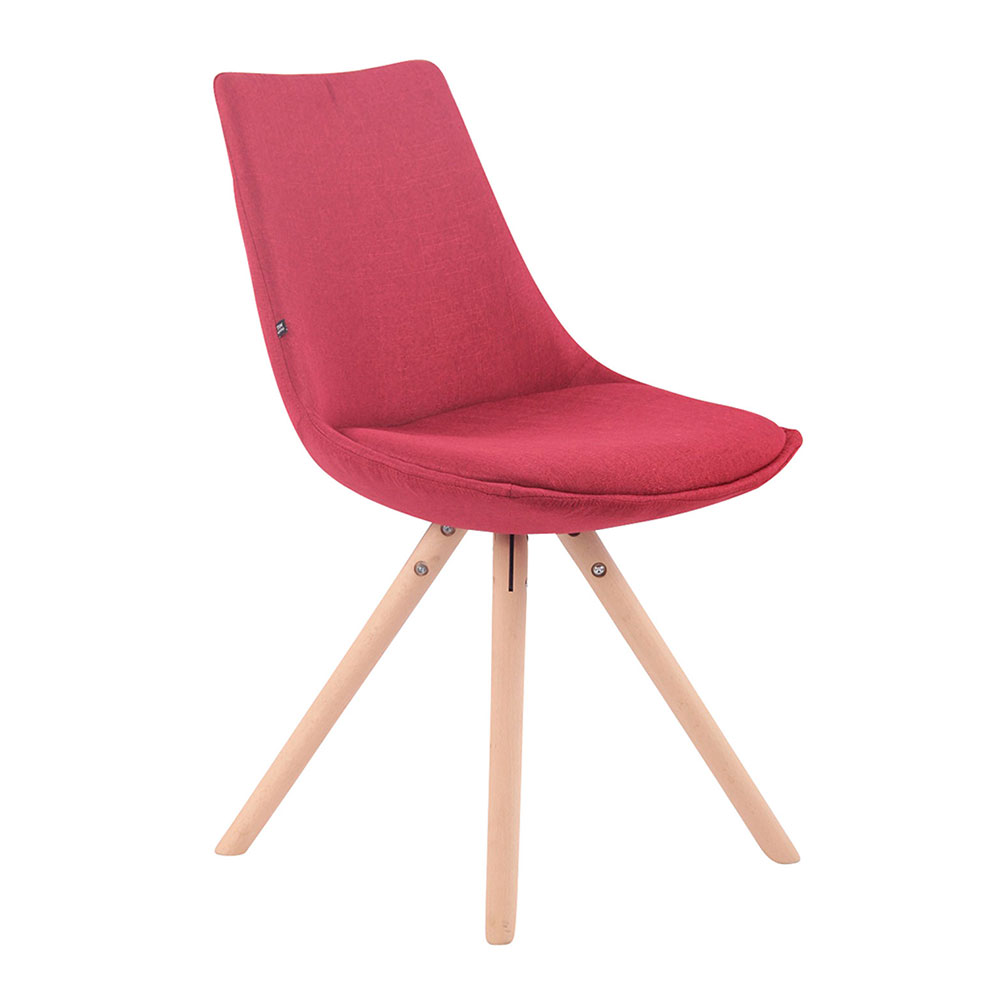 Jídelní židle Alba textil, přírodní nohy červená