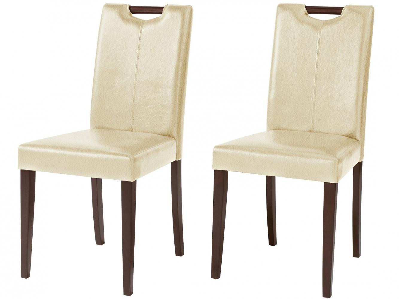 Jídelní židle Curt (SET 2 ks), krémová / tmavé dřevo