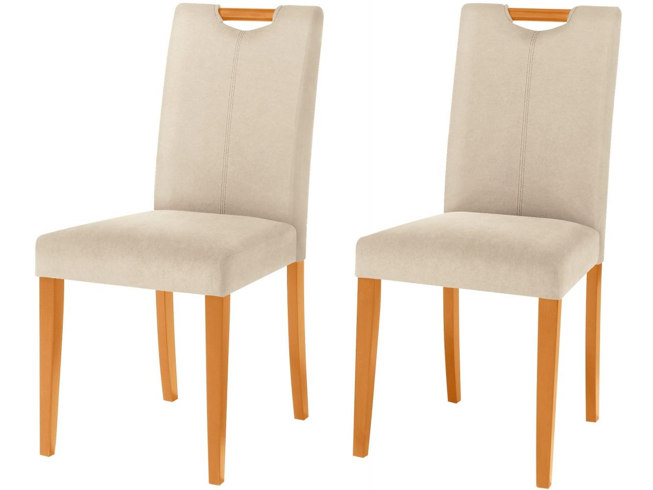 Jídelní židle Curt (SET 2 ks), mikrovlákno, krémová / přírodní dřevo