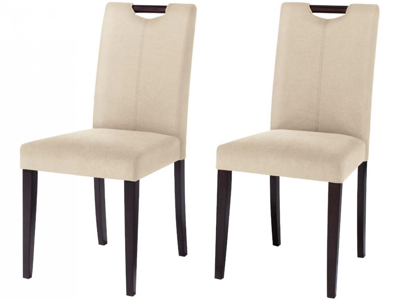 Jídelní židle Curt (SET 2 ks), mikrovlákno, krémová / tmavé dřevo