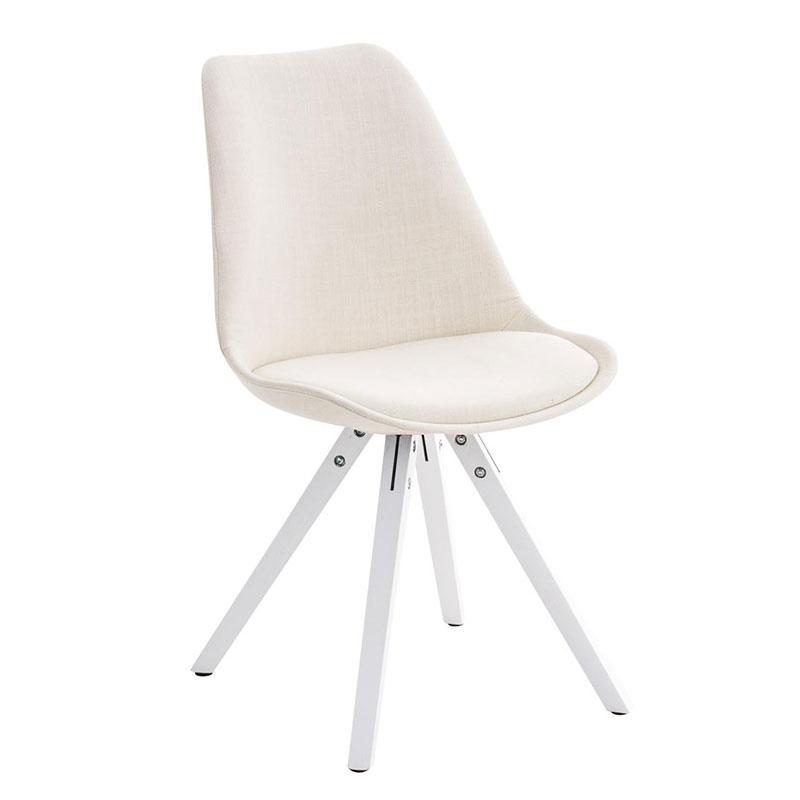 Jídelní židle Damian II., bílá podnož (SET 2 ks) krémová