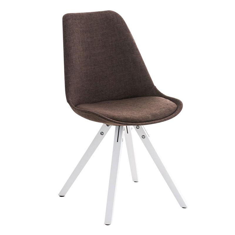 Jídelní židle Damian II., bílá podnož (SET 2 ks) hnědá