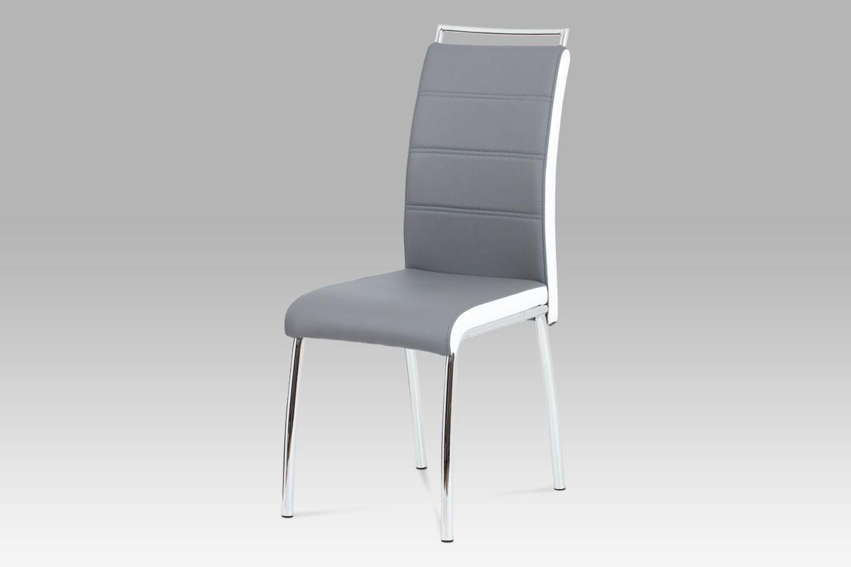 Jídelní židle Flavio (SET 4 ks), šedá / bílá