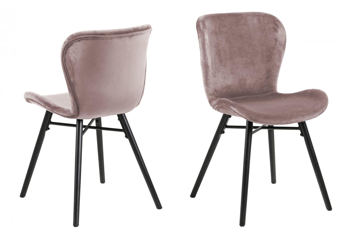 Jídelní židle George (SET 2 ks), světle růžová