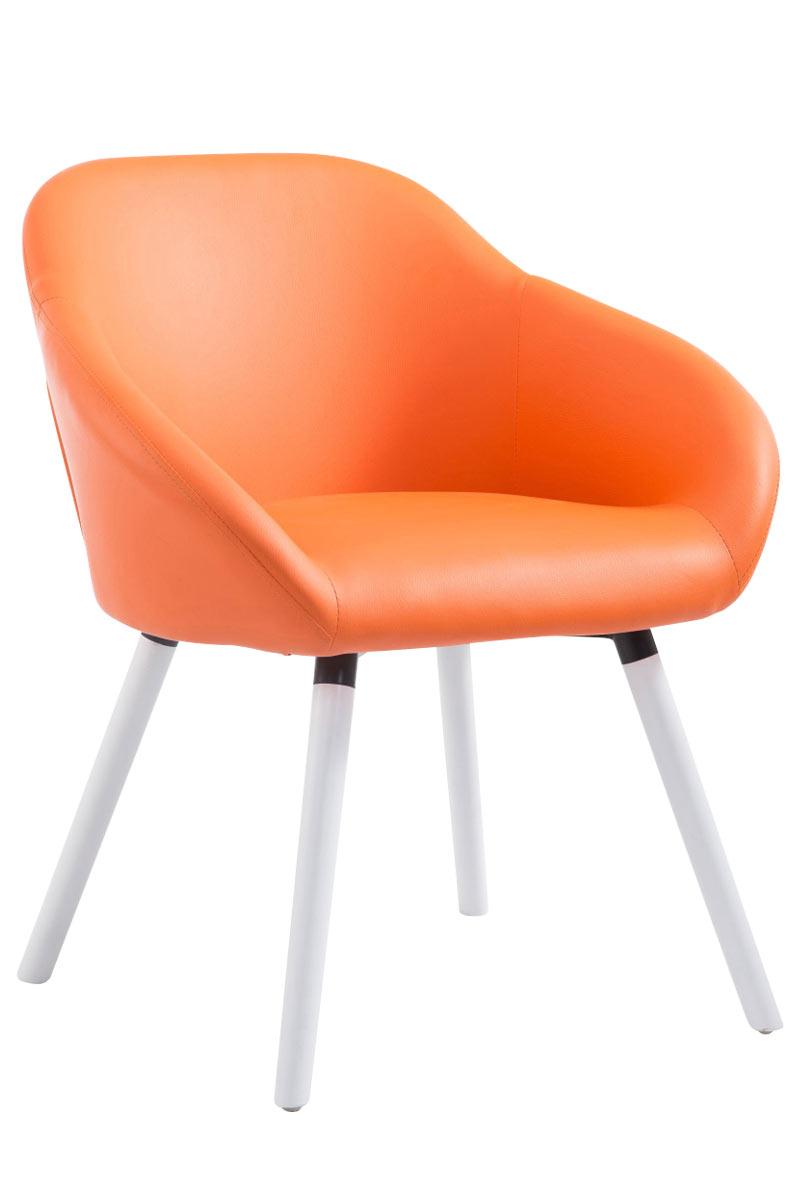 Jídelní židle Harry kůže, bílé nohy oranžová