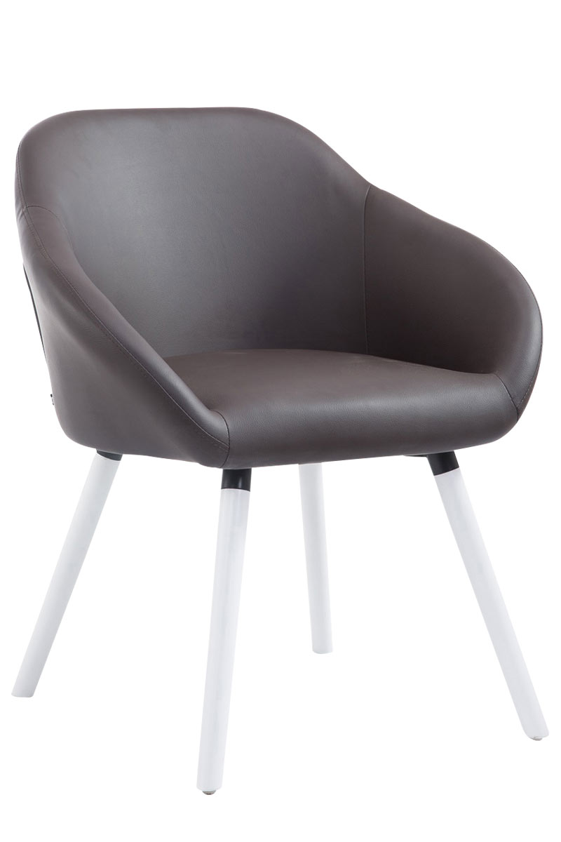 Jídelní židle Harry kůže, bílé nohy