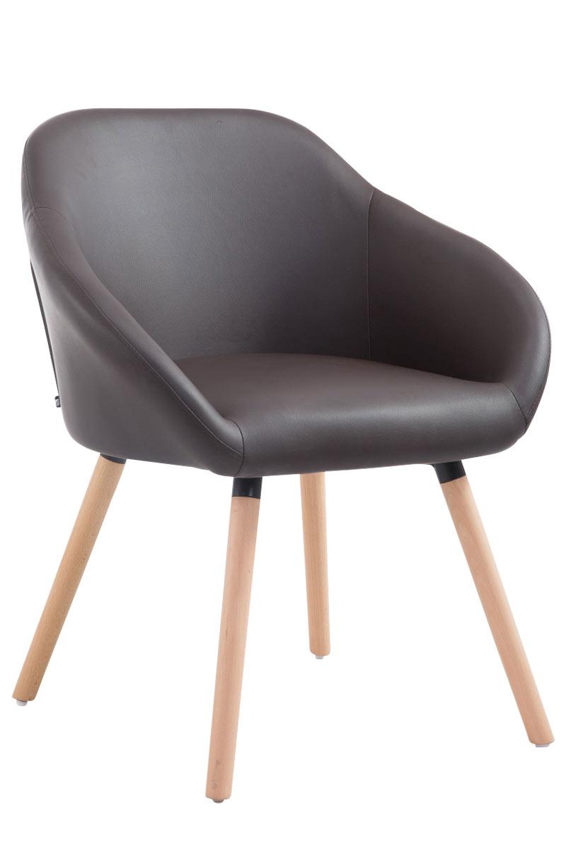 Jídelní židle Harry kůže, přírodní nohy červená