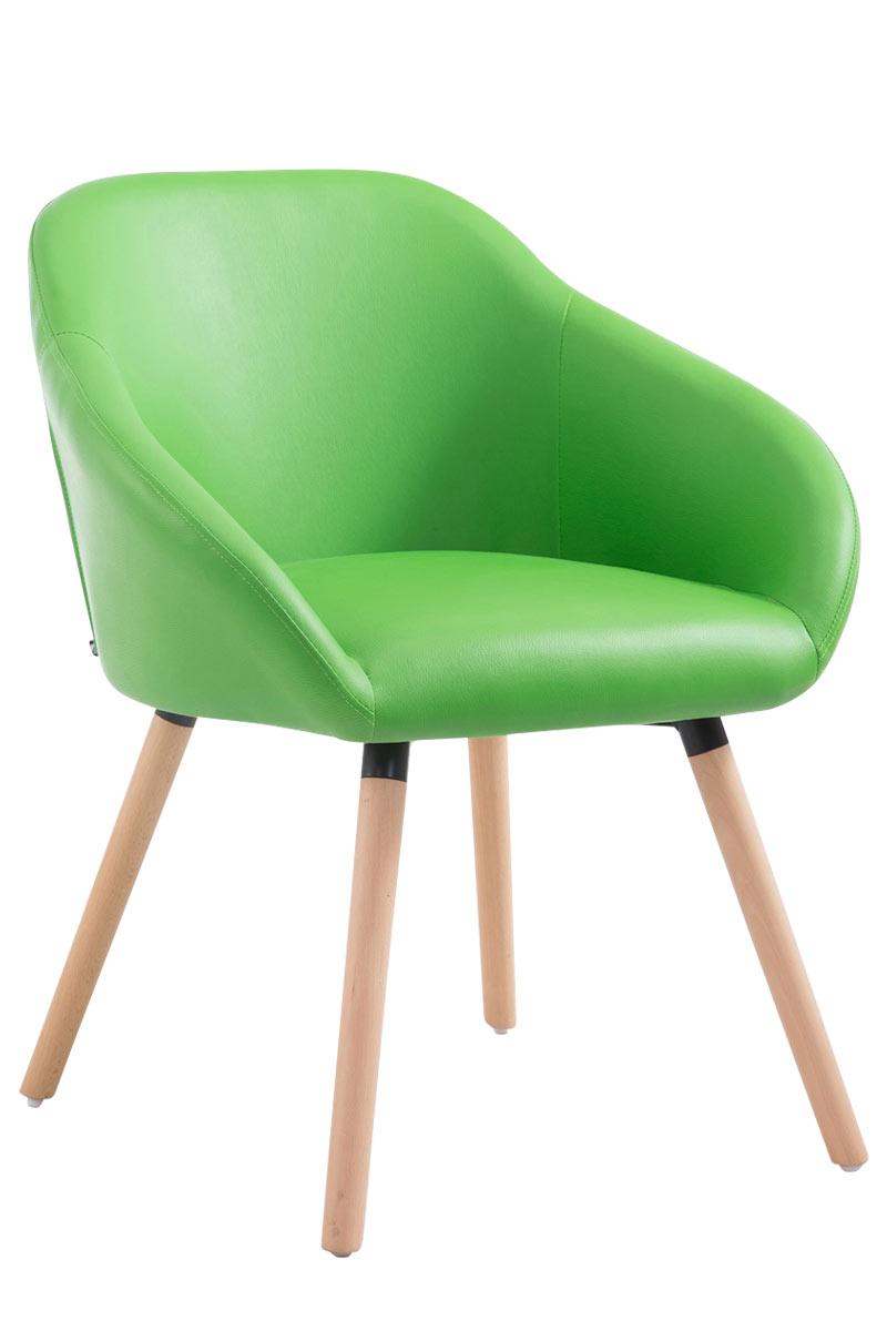 Jídelní židle Harry kůže, přírodní nohy zelená