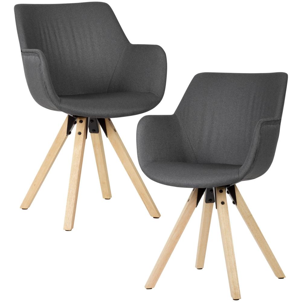 Jídelní židle Hima (SET 2 ks), textil, šedá