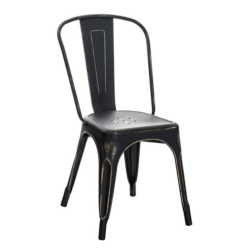 Jídelní židle kovová Direct, antik černá